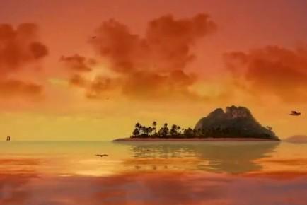 tramonto tropicale isola con palme