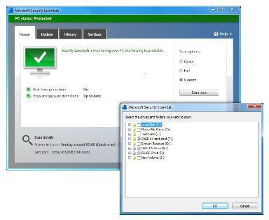 screenshots Microsoft Security Essentials