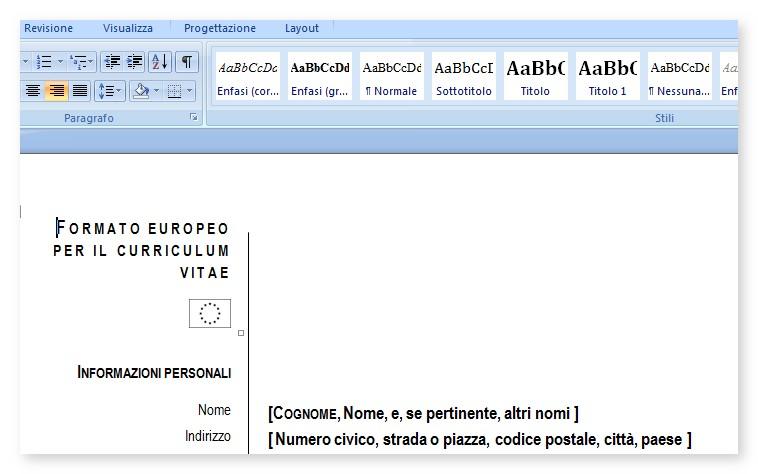 formato Europeo del curriculum