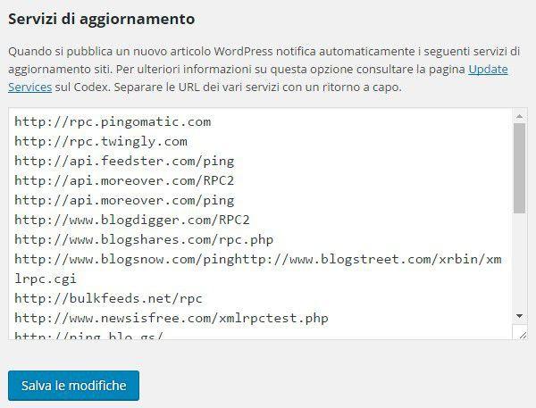 servizi ping aggiunti su wordpress