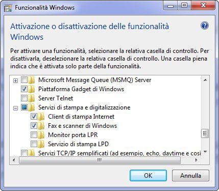 servizi stampa fax windows