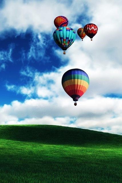 paesaggio mongolfiere colora te su collina verde