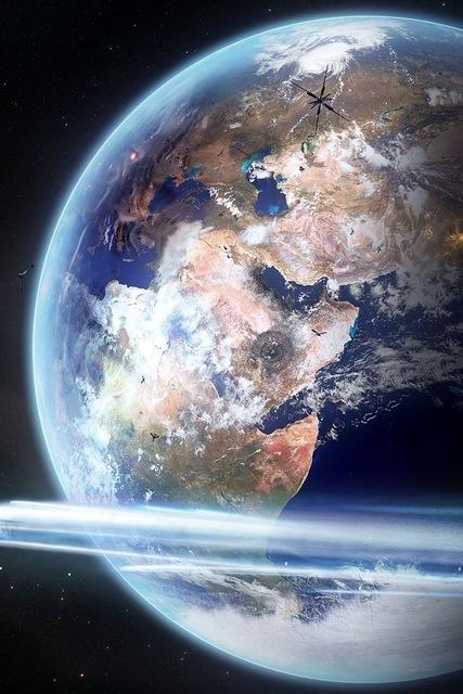 pianeta terra con satelliti futuristiciHD wallpapers iPhone