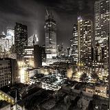 New York di notte edifici