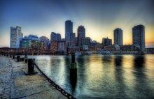 Sfondo Boston panorama vista notturna
