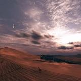 Paesaggio deserto tramonto