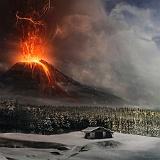 Sfondo vulcano in eruzione lava