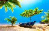 oasi con barca alla riva della spiaggia