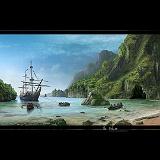 pirati con Galeone sfondo isola