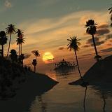 Iphone e Tablet sfondo tropicale tramonto