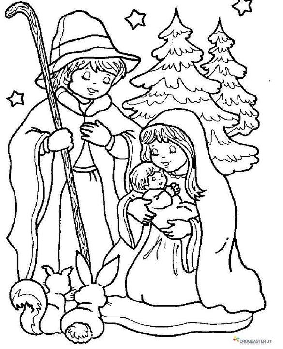 Pastori natalizi da stampare e colorare gratis for Angeli per bambini da colorare