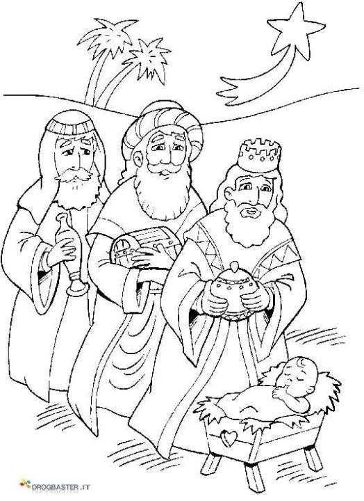 Disegno presepe con re magi