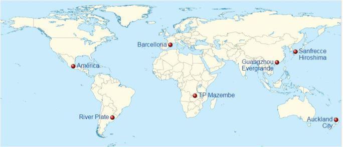 Posizione geografica delle squadre partecipanti al torneo 2015