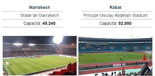 Stadio di calcio di Marrakech e Rabat
