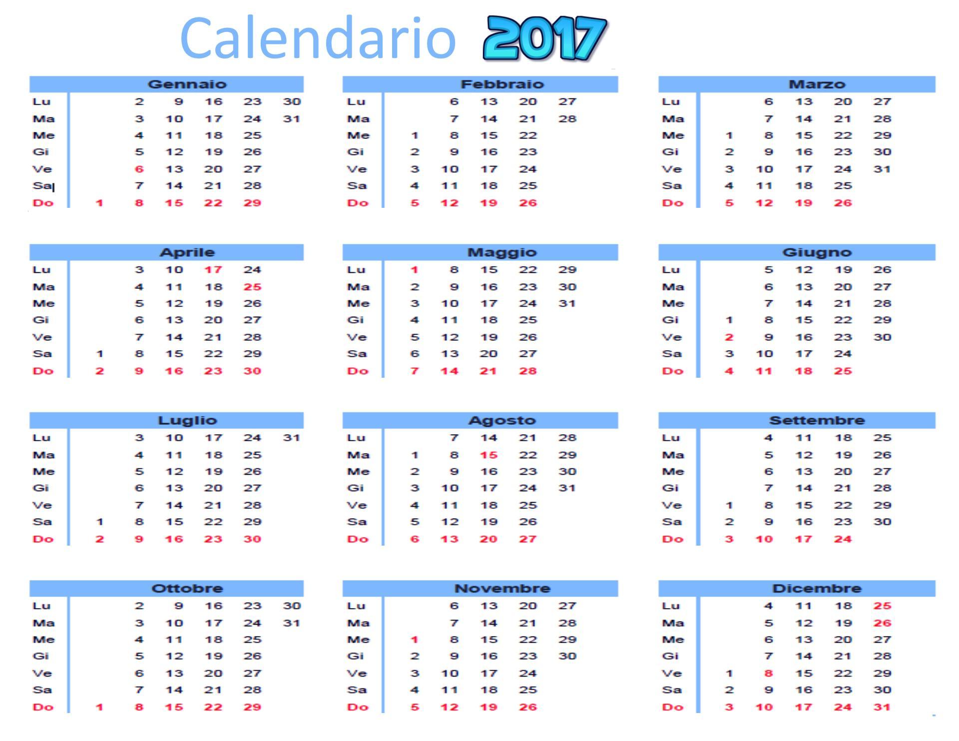 Calendario Da Scaricare.Calendario Annuale 2017 Da Scaricare Gratis E Stampare