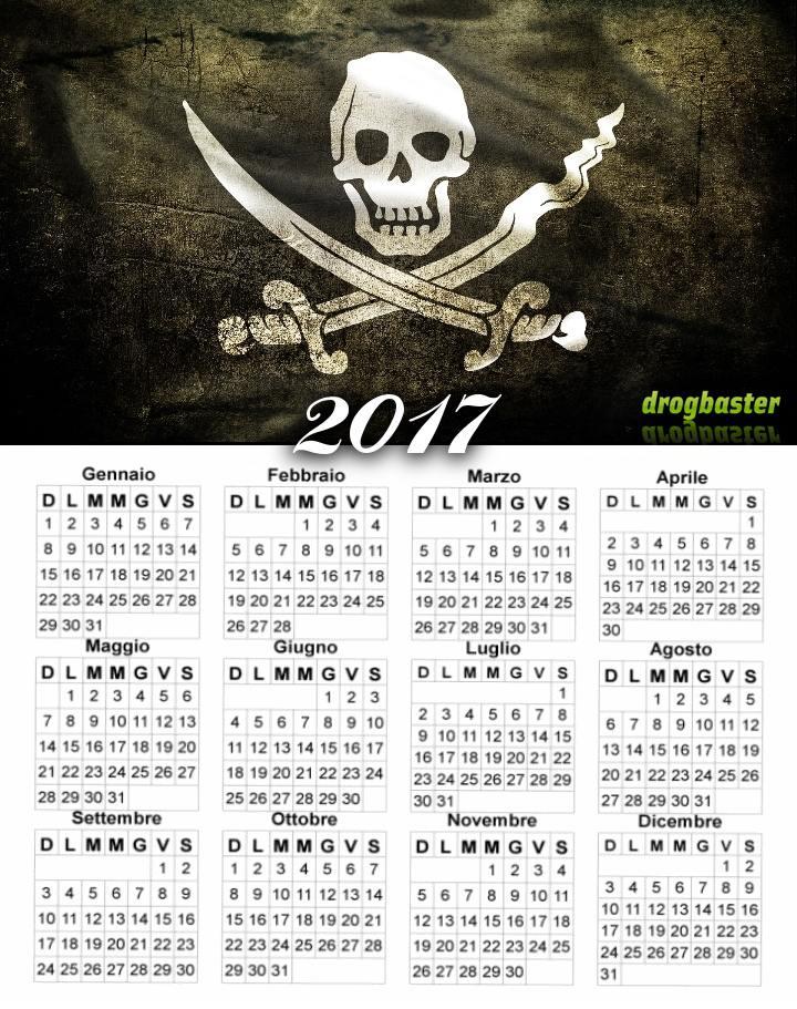 calendario 2017 gratis con bandiera dei pirati