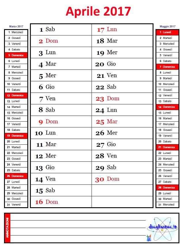 Calendario Anno 2017.Calendario Mensile Anno 2017 Con Annotazioni