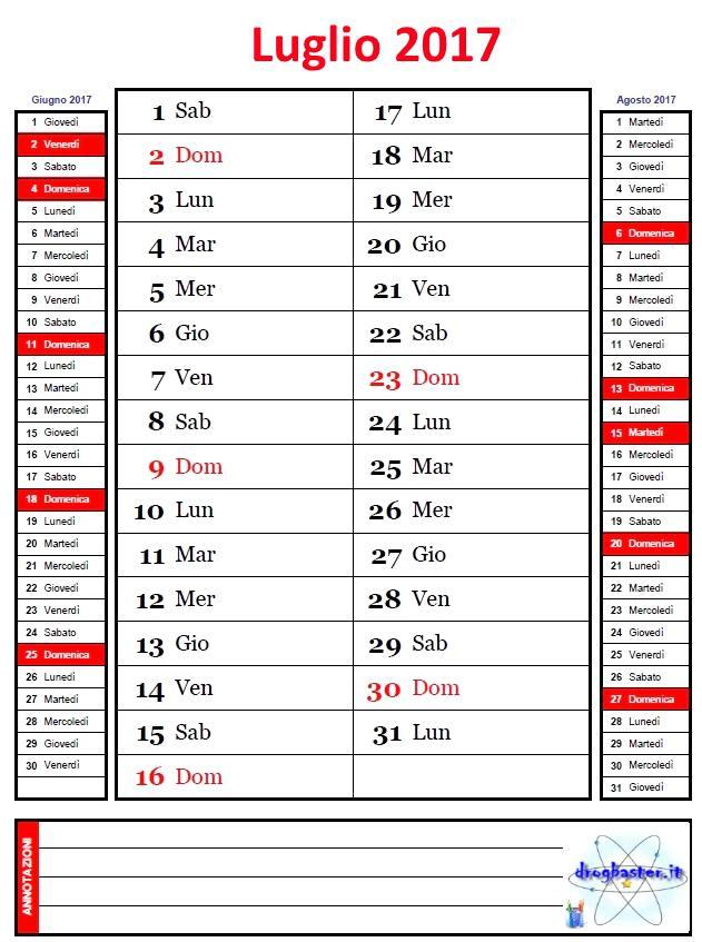 Calendario Mensile anno 2017 con annotazioni