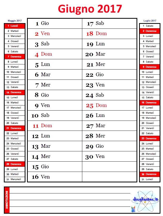 Favorito Calendario Mensile anno 2017 con annotazioni PT26