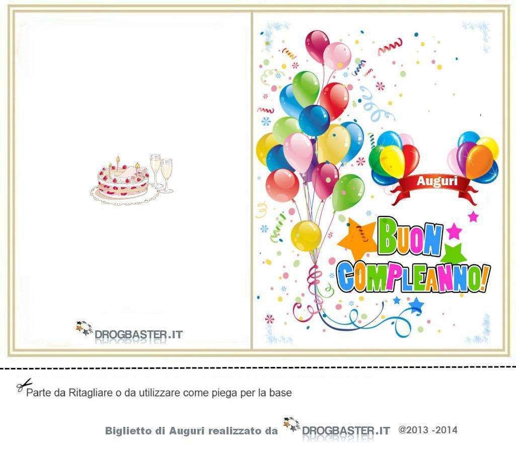 Molto Biglietto da stampare gratis in occasione del compleanno WS69
