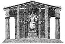 Sezione del Tempio con statua