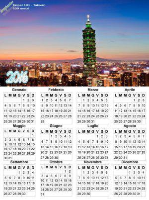 calendario con panorama Taipei 101