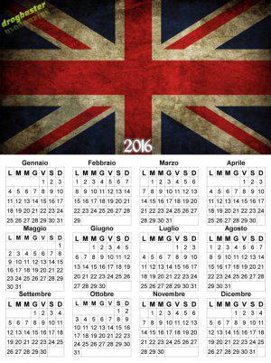calendario con bandiera regno unito