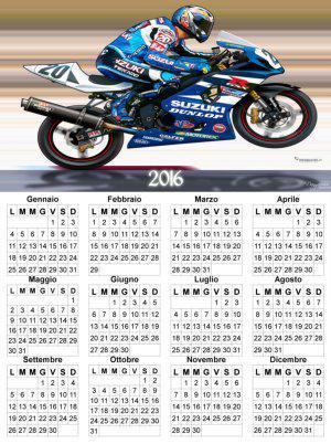 calendario annuale 2016 con moto GP Suzuki
