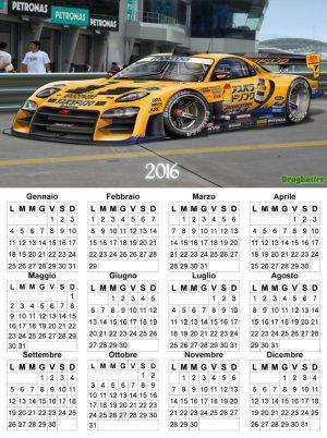 calendario con auto da corsa