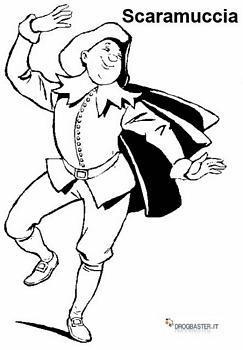 Scaramuccia personaggio di carnevale da colorare