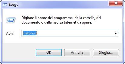 finestra windows esegui comando netplwiz