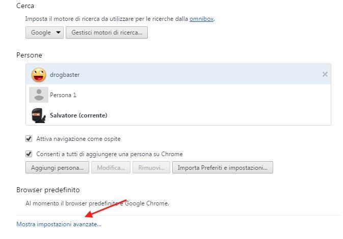 menu Chrome selezionare Impostazioni