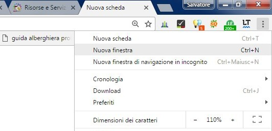 nuova finestra chrome