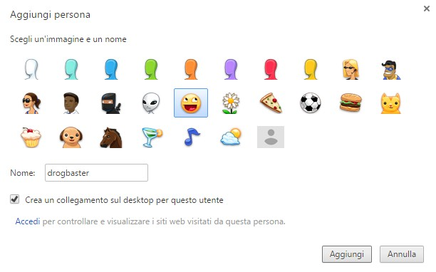 personalizza chrome account