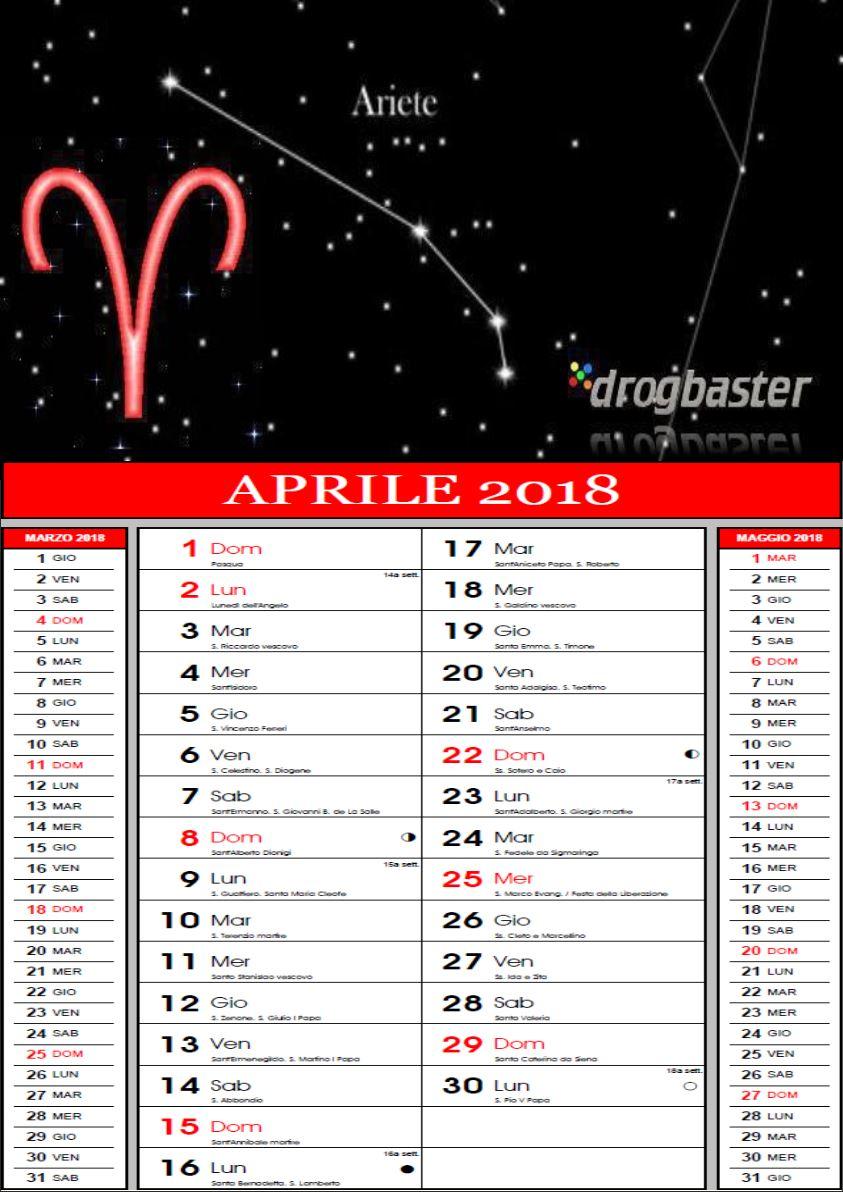 Calendario Zodiacale.Calendario 2018 Con Segni Zodiacali Da Stampare