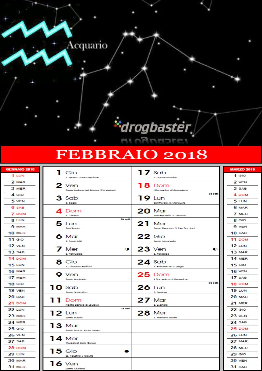 Calendario Segni.Calendario 2018 Con Segni Zodiacali Da Stampare
