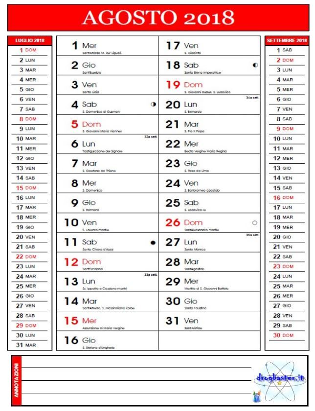 Agosto Calendario.Calendario Mensile 2018 Da Stampare Gratis