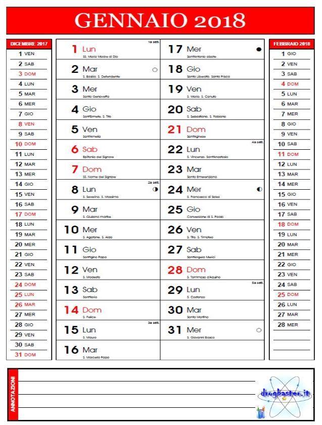 Calendario Da Scaricare.Calendario Mensile 2018 Da Stampare Gratis