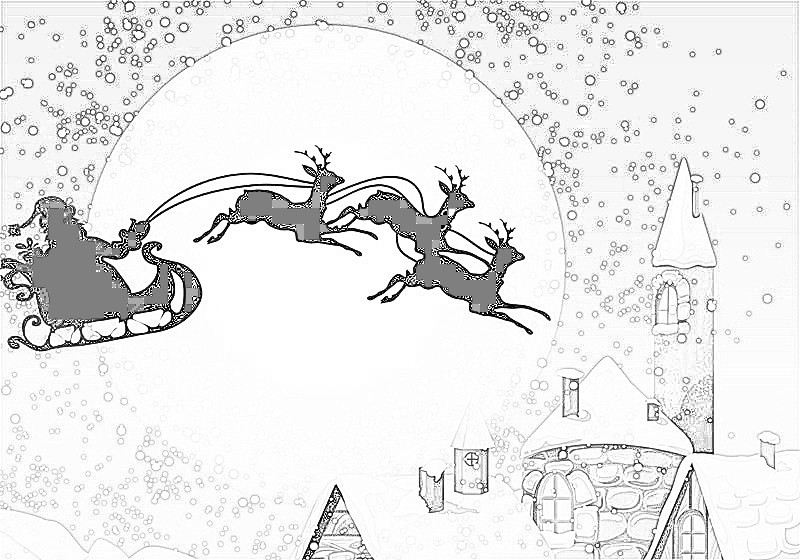 Disegni Da Colorare Di Babbo Natale Con La Renna