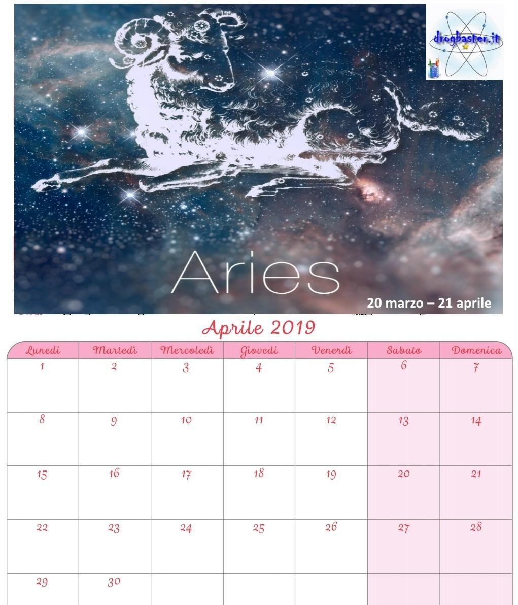 Calendario Segni.Calendario 2019 Con I Segni Zodiacali