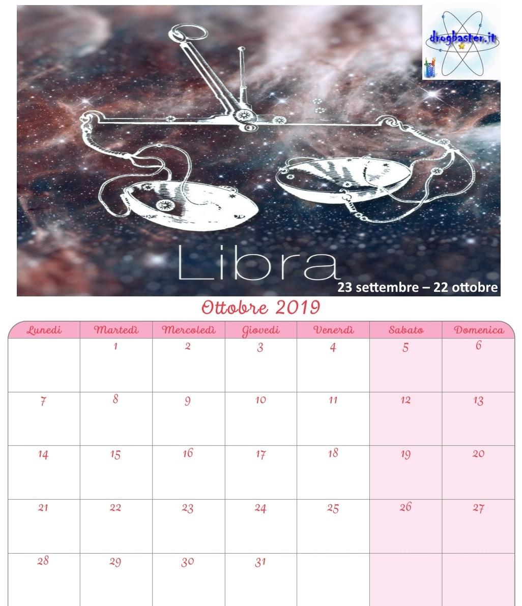 Calendario 2019 Con I Segni Zodiacali