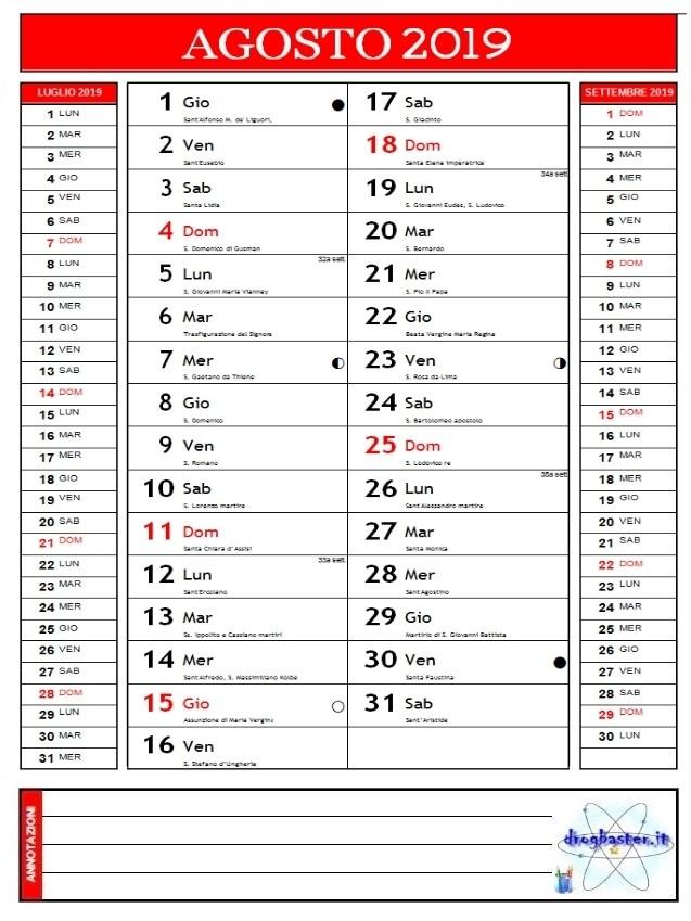 Agosto Calendario.Calendari 2019 Annuale E Mensile Da Stampare