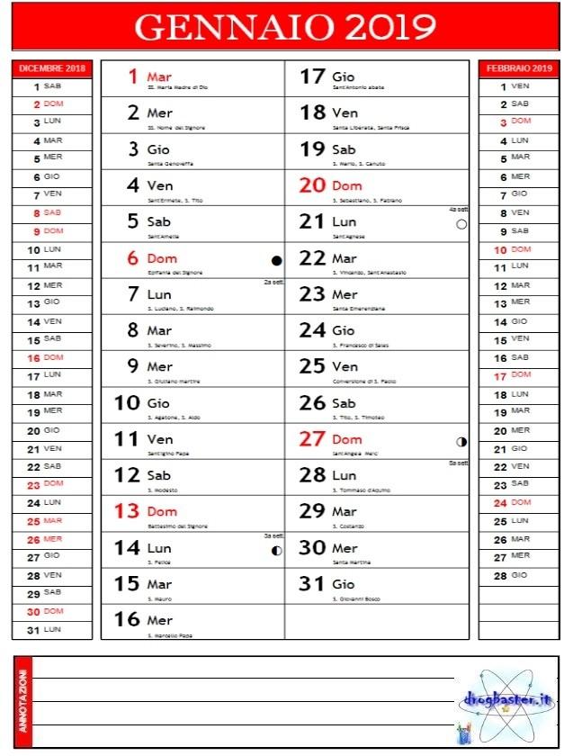 Calendari 2019 Annuale E Mensile Da Stampare