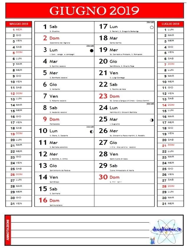 Calendario Agosto 2019 Da Stampare Gratis.Calendari 2019 Annuale E Mensile Da Stampare