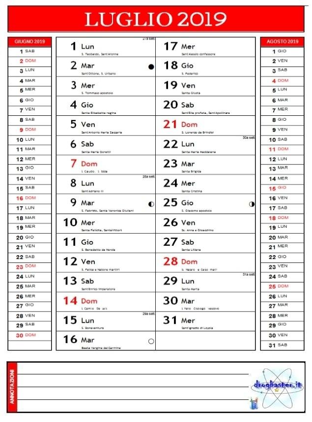 Calendario Luglio 2007.Calendari 2019 Annuale E Mensile Da Stampare