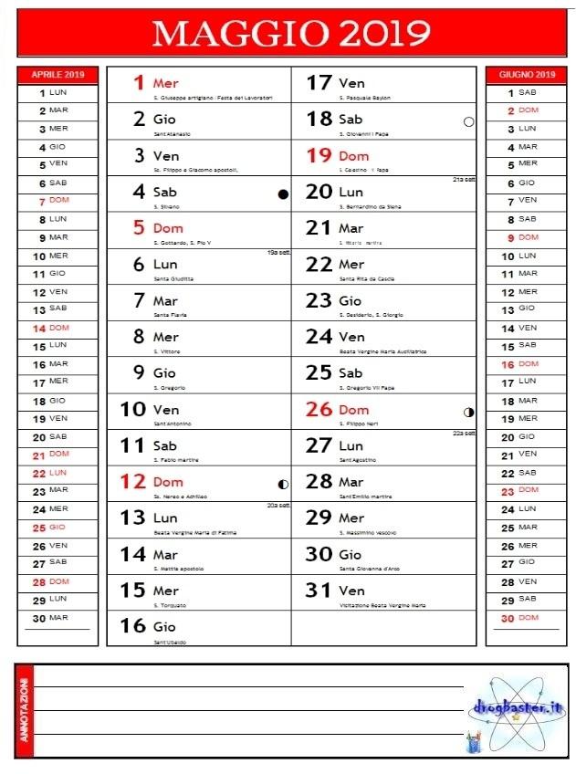 Calendario Appunti 2019.Calendari 2019 Annuale E Mensile Da Stampare