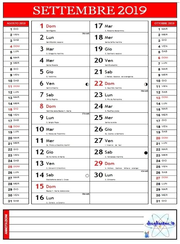 Calendario Settembre 2007.Calendari 2019 Annuale E Mensile Da Stampare