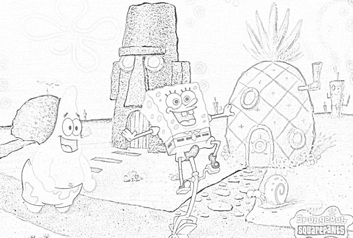 bikini botton con patrick stella e spongebob