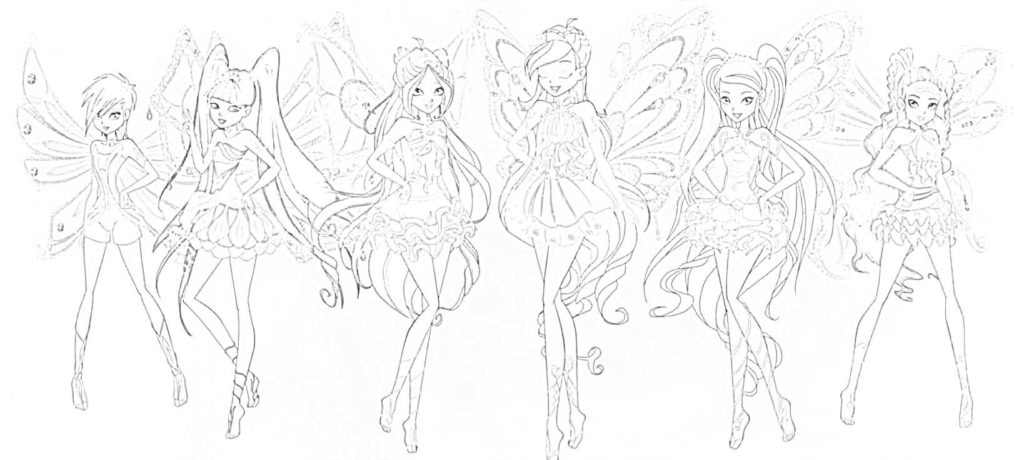 winx enchantix da colorare