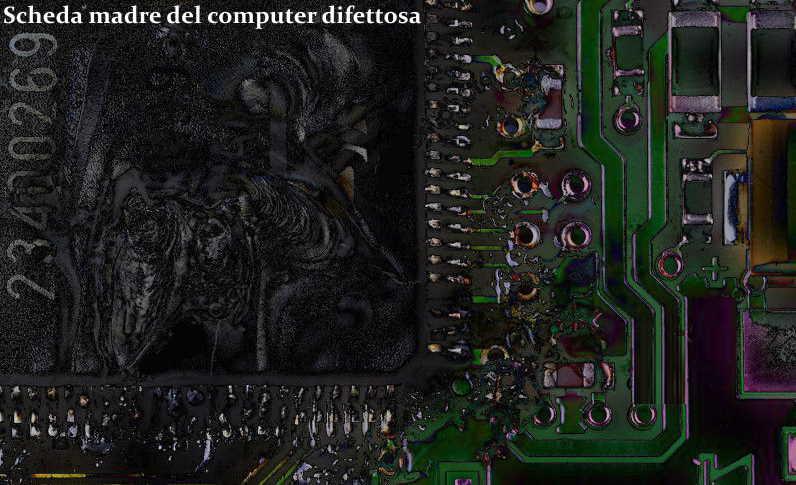 scheda madre del computer difettosa